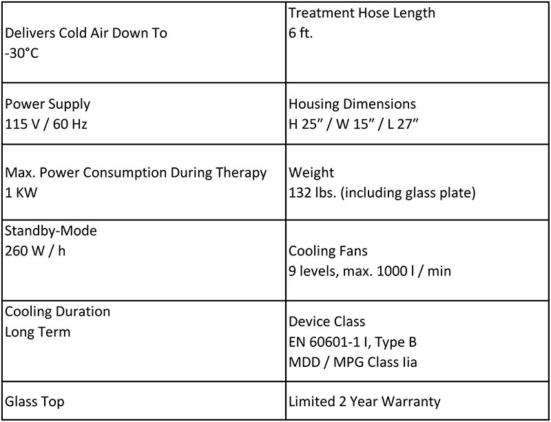 cryo6 specifications